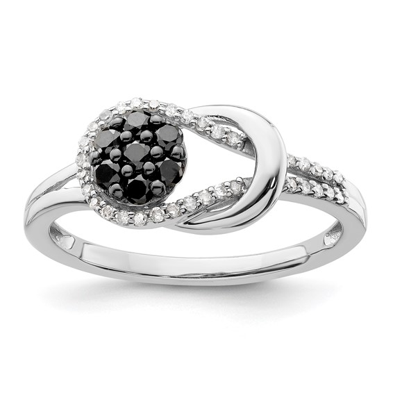 0.33 Ct Sterling Silver Black and White Diamond Love Knot Ring