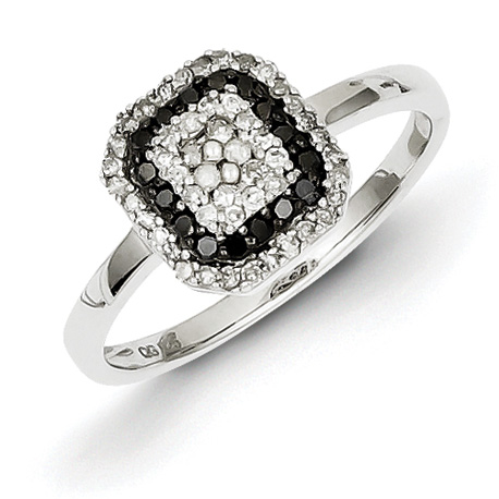 0.33 Ct Sterling Silver Black and White Diamond Square Frame Ring