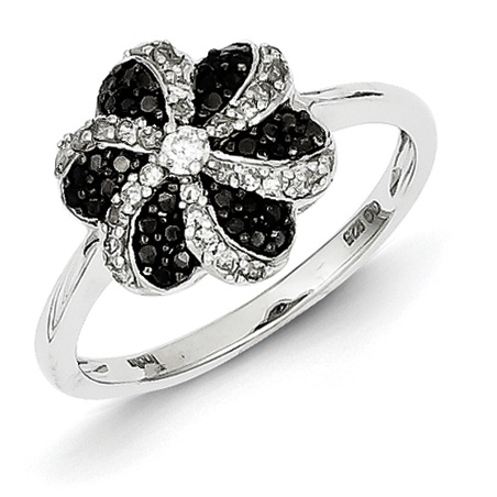 0.4 Ct Sterling Silver Black and White Diamond Flower Ring
