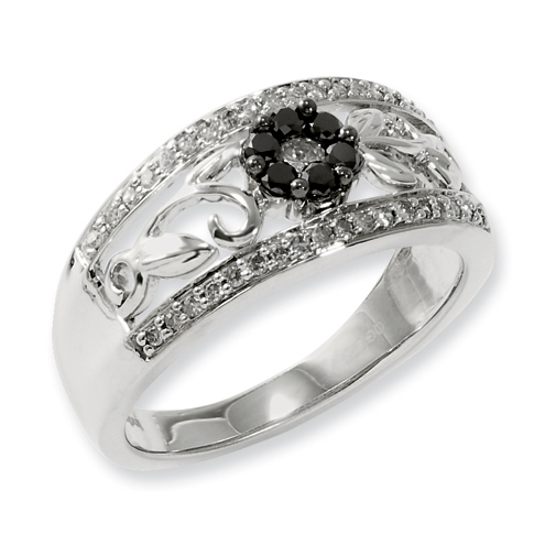 0.35 Ct Sterling Silver Black and White Diamond Floral Ring