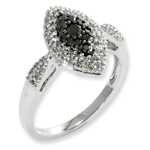 0.5 Ct Sterling Silver Black and White Diamond Double Marquis Ring