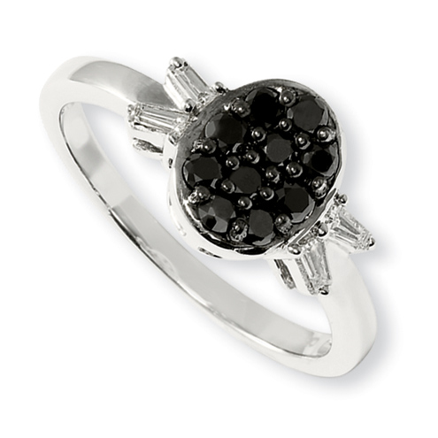 0.5 Ct Sterling Silver Black and White Diamond Round Ring