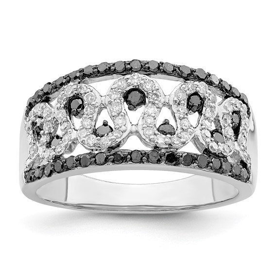 0.63 Ct Sterling Silver Black and White Diamond Cigar Band