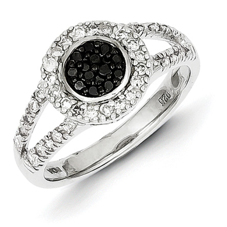 0.5 Ct Sterling Silver Black and White Diamond Round Frame Ring
