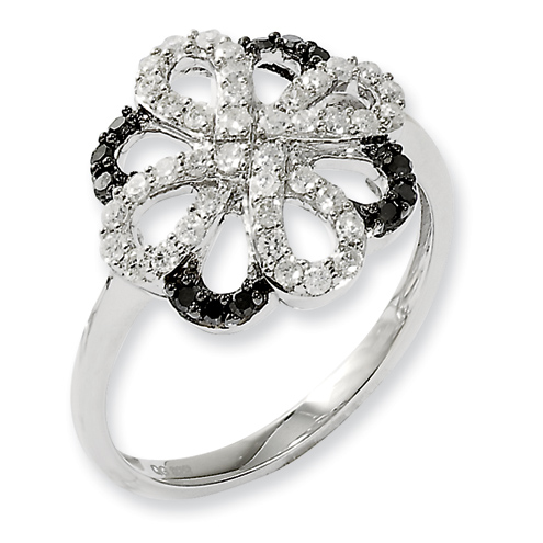0.5 Ct Sterling Silver Black and White Diamond Open Floral Ring