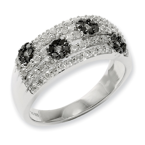 0.75 Ct Sterling Silver Black and White Diamond Floral Design Ring