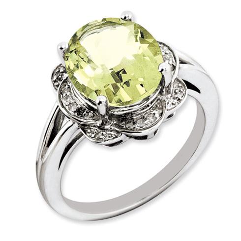 4.5 ct Sterling Silver Lemon Quartz and Diamond Ring