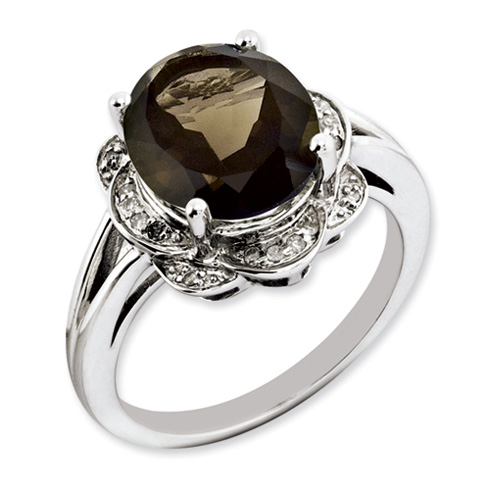 4.5 ct Sterling Silver Smoky Quartz and Diamond Ring