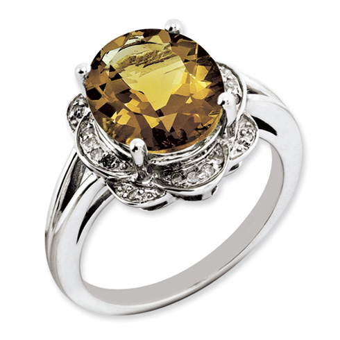 4.5 ct Sterling Silver Whiskey Quartz and Diamond Ring