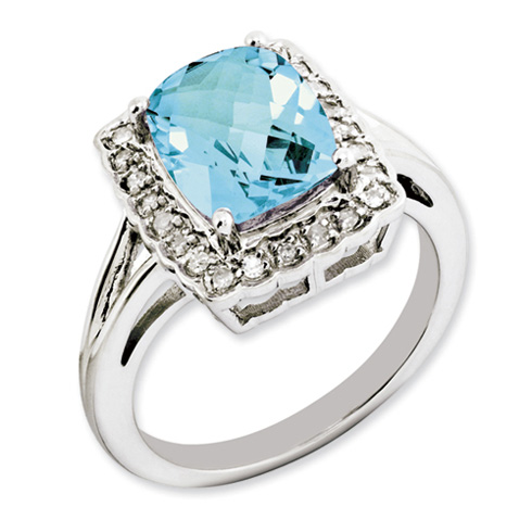 3.15 ct Sterling Silver Light Swiss Blue Topaz and Diamond Ring