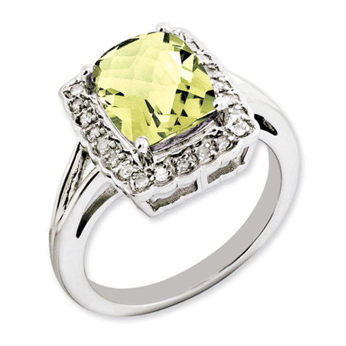 2.96 ct Sterling Silver Lemon Quartz and Diamond Ring