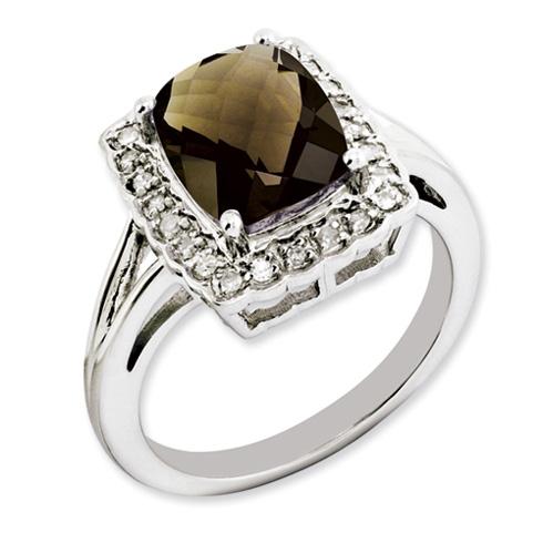 2.96 ct Sterling Silver Smoky Quartz and Diamond Ring