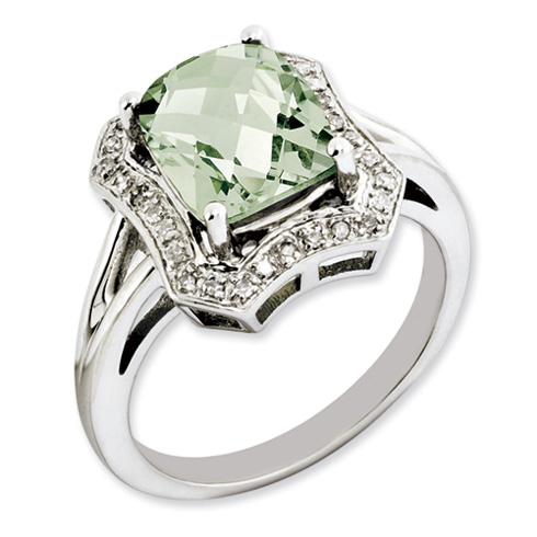 2.96 ct Sterling Silver Green Quartz and Diamond Ring