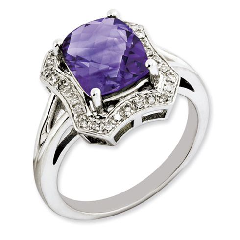 2.85 ct Sterling Silver Amethyst and Diamond Ring