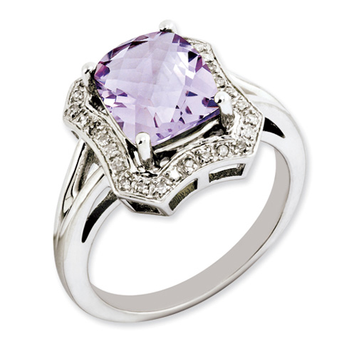 2.96 ct Sterling Silver Pink Quartz and Diamond Ring