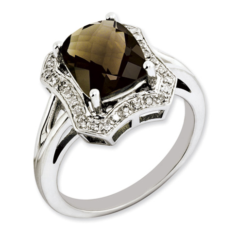2.96 ct Sterling Silver Smoky Quartz and Diamond Ring