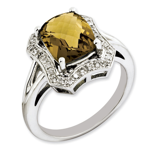 2.96 ct Sterling Silver Whiskey Quartz and Diamond Ring