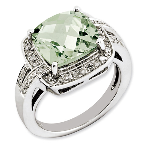 3.55 ct Sterling Silver Green Quartz and Diamond Ring