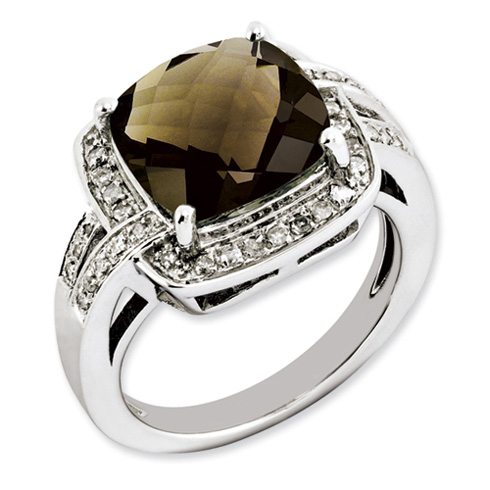 Sterling Silver 5 ct Smoky Quartz and Diamond Ring
