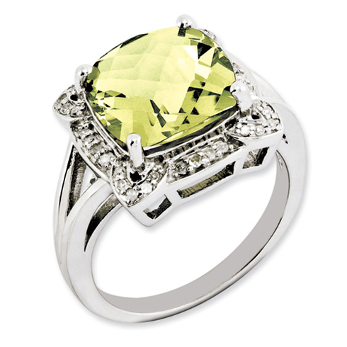 5.55 ct Sterling Silver Lemon Quartz and Diamond Ring