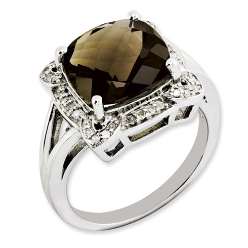 5 ct Sterling Silver Smoky Quartz and Diamond Ring