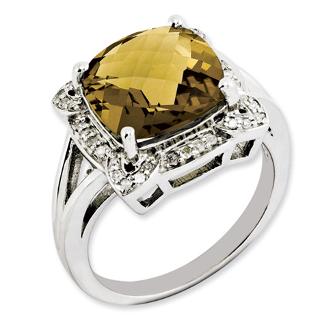 5 ct Sterling Silver Whiskey Quartz and Diamond Ring