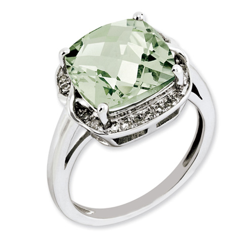Sterling Silver 3.55 ct Green Quartz and Diamond Ring