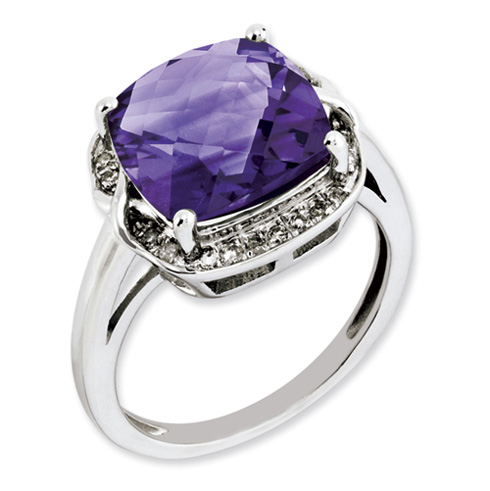 5 ct Sterling Silver Amethyst and Diamond Ring