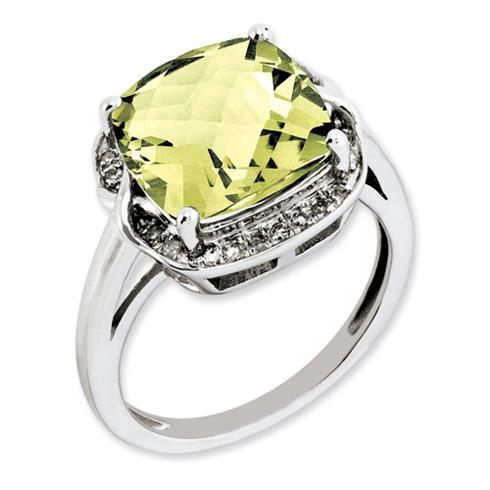 5.55 ct Sterling Silver Lemon Quartz and Diamond Ring