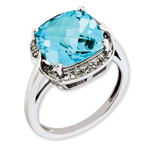 6.25 ct Sterling Silver Light Swiss Blue Topaz and Diamond Ring
