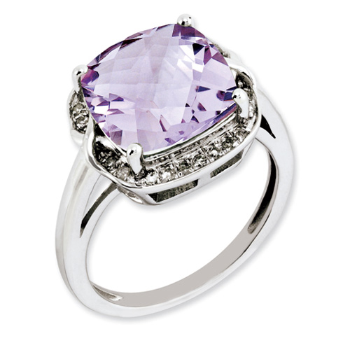 5 ct Sterling Silver Pink Quartz and Diamond Ring