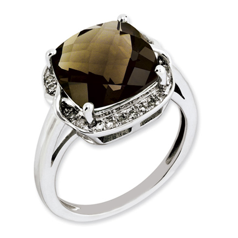 5 ct Sterling Silver Smoky Quartz and Diamond Ring