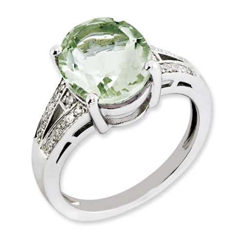 4.5 ct Sterling Silver Green Quartz and Diamond Ring