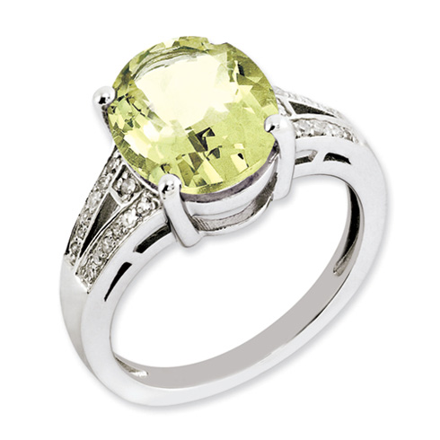 4.5 ct Sterling Silver Lemon Quartz and Diamond Ring