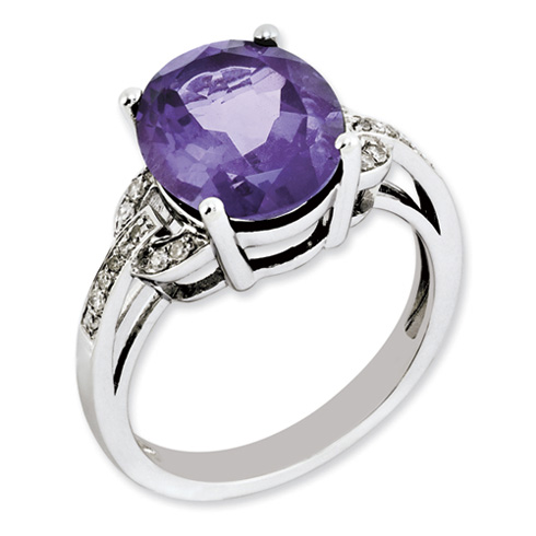 4.25 ct Sterling Silver Amethyst and Diamond Ring