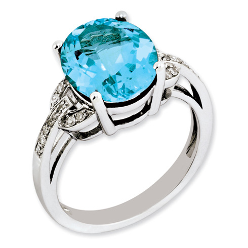 6 ct Sterling Silver Light Swiss Blue Topaz and Diamond Ring