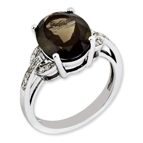 4.5 ct Sterling Silver Smoky Quartz and Diamond Ring