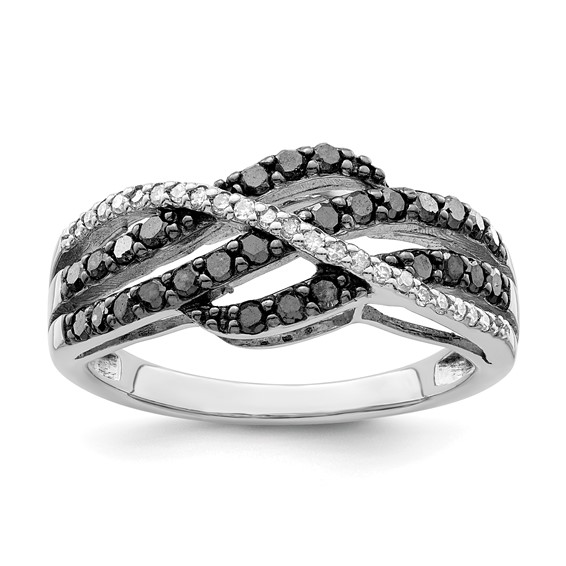 0.51 Ct Sterling Silver Black and White Diamond Ring