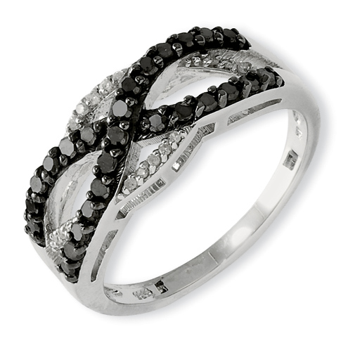 0.49 Ct Sterling Silver Black and White Diamond Ring