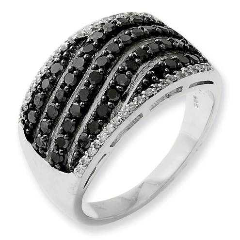 1.03 Ct Sterling Silver Black and White Diamond Ring