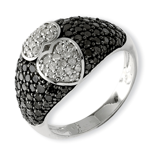 1.5 Ct Sterling Silver Black and White Diamond Ring