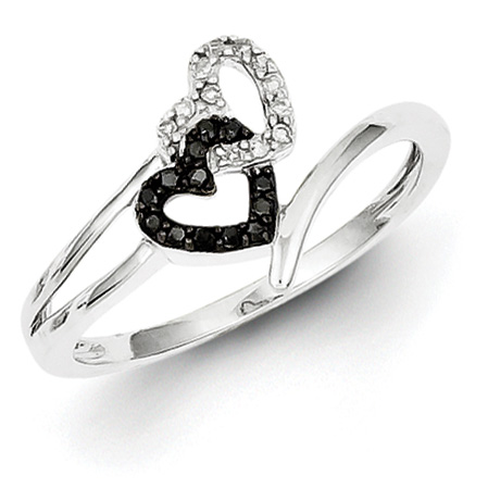 0.1 Ct Sterling Silver Black and White Diamond Heart Ring