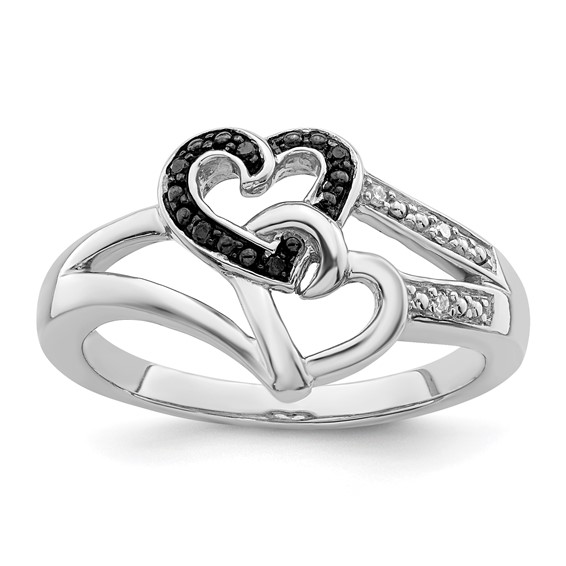 Sterling Silver .03 Ct Black and White Diamond Heart Ring