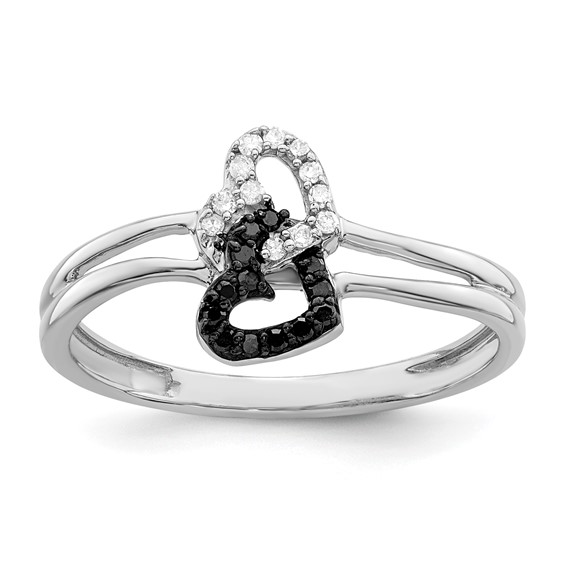 Sterling Silver 1/10 Ct Black & White Diamond Heart Promise Ring