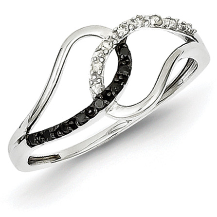 0.11 Ct Sterling Silver Black and White Diamond Ring