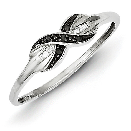 0.05 Ct Sterling Silver Black and White Diamond Ring