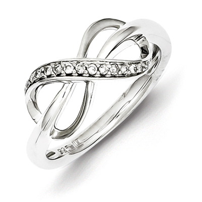 Sterling Silver 1/15ct Diamond Infinity Promise Ring