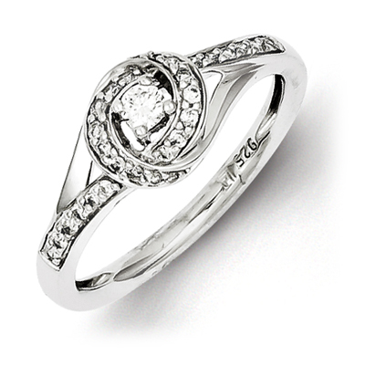 Sterling Silver 1/4ct Diamond Bypass Promise Ring