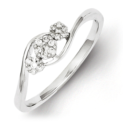 Sterling Silver 1/6ct Diamond Tri Cluster Promise Ring