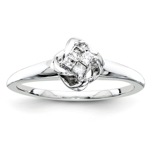 Sterling Silver 1/10ct Princess Diamond Promise Ring